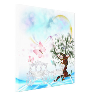 Lona envuelta carro cristalino surrealista del impresiones de lienzo