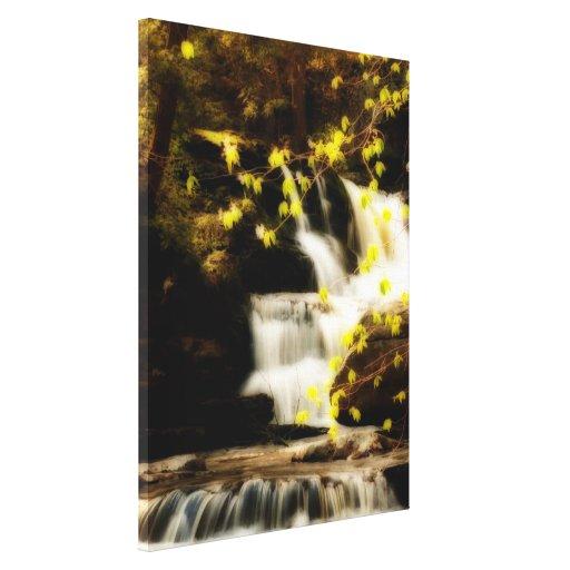 Lona envuelta cascada de la primavera de Pocono Impresión En Lienzo Estirada