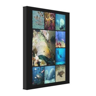 Lona envuelta collage de las criaturas del mar impresión en tela