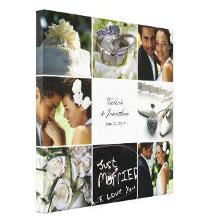 Lona envuelta collage del boda - blanco impresión en lona