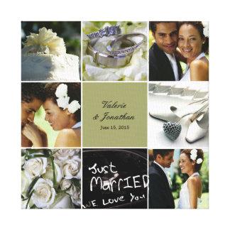 Lona envuelta collage del boda - color de encargo impresión en lienzo