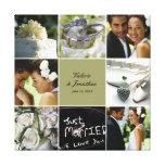 Lona envuelta collage del boda - color de encargo impresion de lienzo