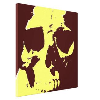 Lona envuelta cráneo amarillo del arte pop de Brow Impresiones En Lienzo Estiradas