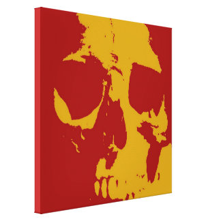 Lona envuelta cráneo amarillo rojo del arte pop lona envuelta para galerias