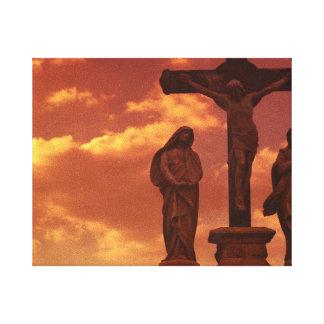 Lona envuelta crucifixión impresiones en lienzo estiradas