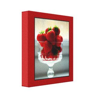 Lona envuelta cuenco de la fresa impresiones en lienzo estiradas