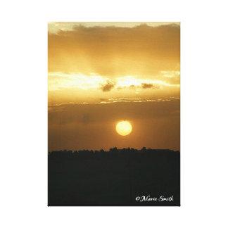 Lona envuelta de la salida del sol 2 de oro impresiones en lona