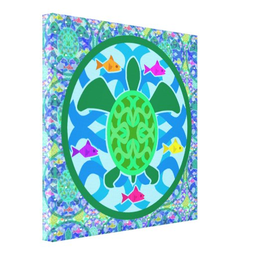 Lona envuelta de la tortuga de mar verde impresión en lona