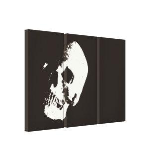 Lona envuelta del arte pop del cráneo de la sepia