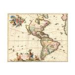 Lona envuelta del mapa 1670 del vintage de América Impresión En Lienzo Estirada