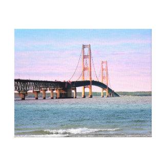 Lona envuelta del puente de Mackinac Impresion De Lienzo