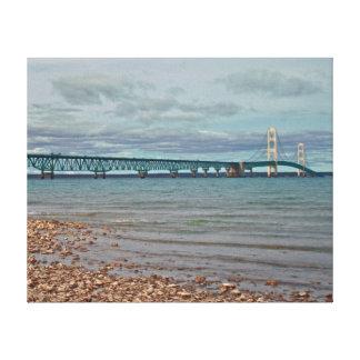 Lona envuelta del puente de Mackinac Lona Envuelta Para Galerias