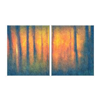 Lona envuelta díptica oscura del extracto del otoñ lona estirada galerias