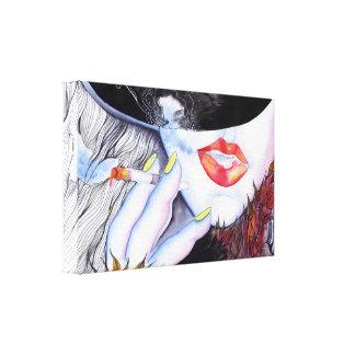 Lona envuelta diva roja de los labios del art déco lona estirada galerías