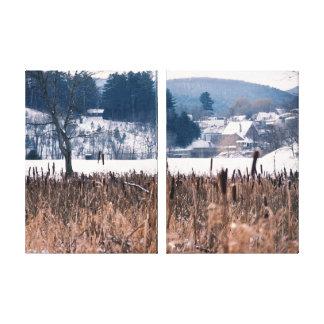 Lona envuelta escena de los Cattails del invierno  Impresión En Lona