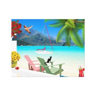 Lona envuelta escena tropical de la playa lona envuelta para galerias