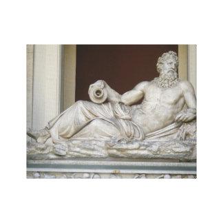 Lona envuelta estatua de Neptuno Impresión En Lienzo
