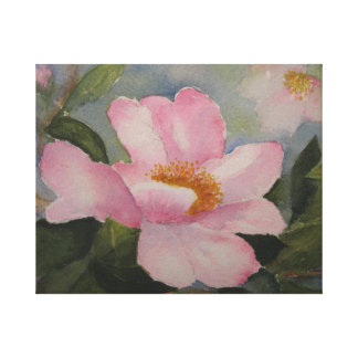 LONA ENVUELTA - flor rosada de la camelia Impresión En Lienzo