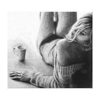Lona envuelta grafito de la mujer y del café de la impresión en lona