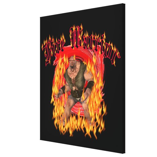 """Lona envuelta guerrero 24x28 del fuego """" impresiones en lienzo estiradas"""
