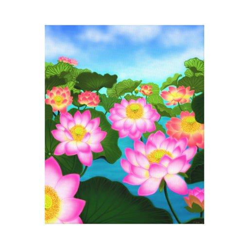 Lona envuelta jardín asiático de Lotus Waterlily Impresión De Lienzo