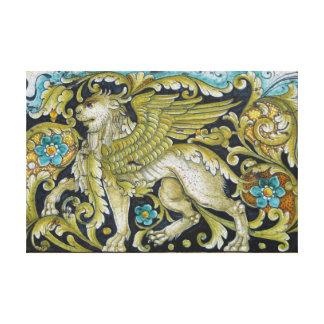 Lona envuelta--León de la teja de Deruta Impresión En Lona