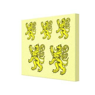 Lona envuelta león heráldico amarillo lona estirada galerias