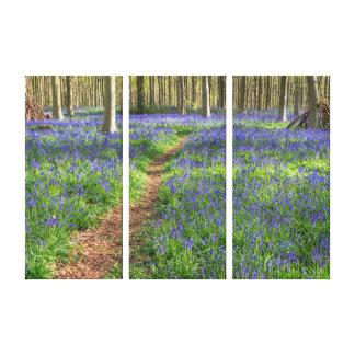 Lona envuelta madera inglesa hermosa del Bluebell Impresión En Lienzo