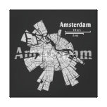 Lona envuelta mapa de Amsterdam Lienzo Envuelto Para Galerias