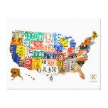 Lona envuelta mapa de la placa de Estados Unidos Impresion De Lienzo