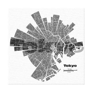 Lona envuelta mapa de Tokio Impresión De Lienzo