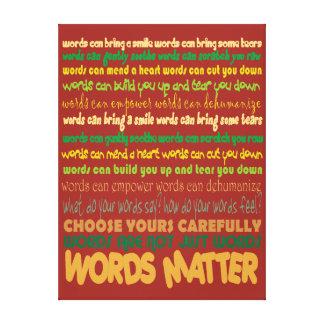 Lona envuelta materia de las palabras lona estirada galerias