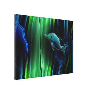 Lona envuelta neón líquido Prin del delfín de las Impresión En Lona Estirada