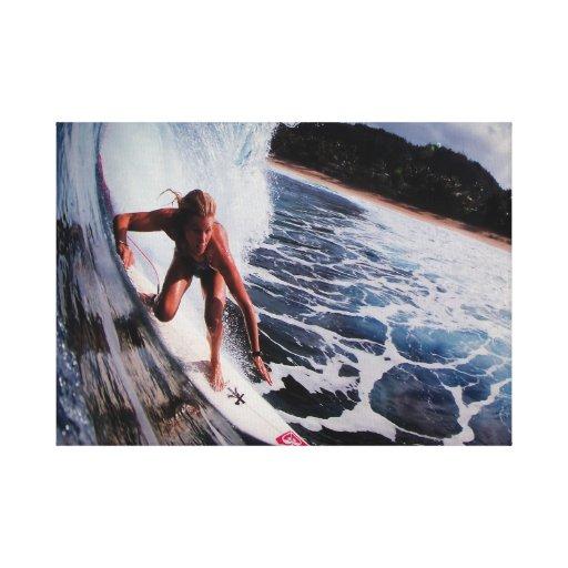 Lona envuelta ola oceánica que practica surf de la impresion de lienzo