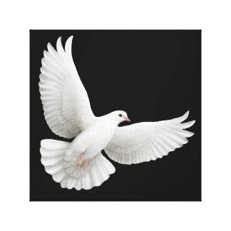 Lona envuelta paloma blanca que vuela impresión en lienzo
