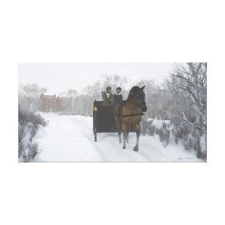 Lona envuelta paseo del trineo del invierno impresion en lona