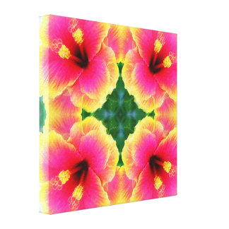 Lona envuelta pastel del hibisco impresión en lienzo estirada