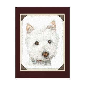 Lona envuelta perro lindo de Westie Impresión En Lona