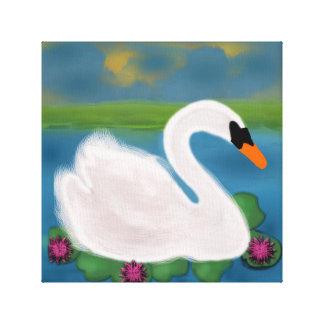 Lona envuelta pintura blanca del cisne lienzo envuelto para galerias