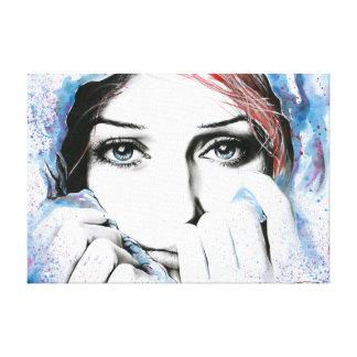 Lona envuelta pintura de la acuarela del retrato d impresiones de lienzo