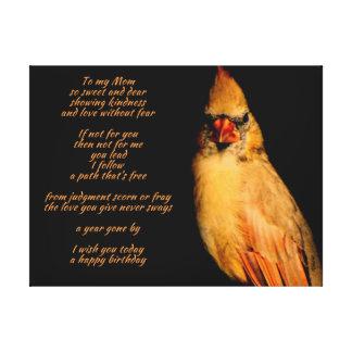 Lona envuelta poema cardinal del cumpleaños de la lona envuelta para galerias