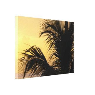 Lona envuelta puesta del sol de la palmera impresiones en lienzo estiradas