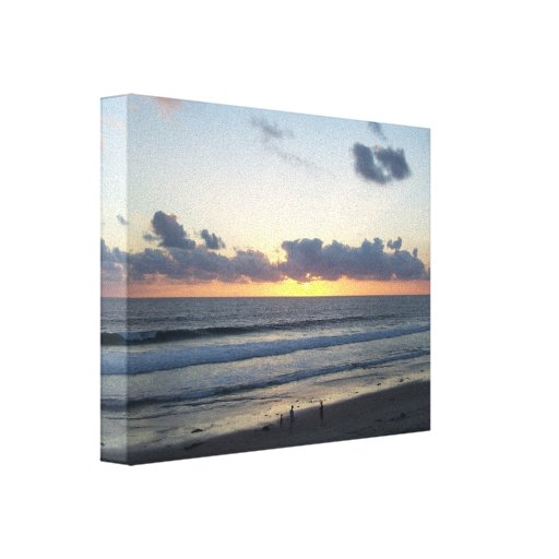 Lona envuelta puesta del sol de la playa de impresión en lienzo estirada