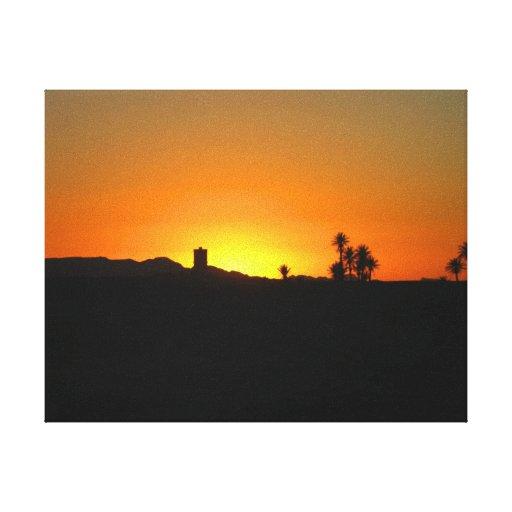 Lona envuelta puesta del sol marroquí lienzo envuelto para galerías