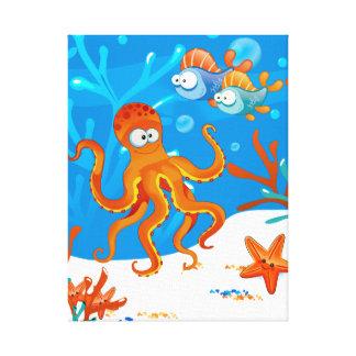 Lona envuelta pulpo lindo acuático del océano lona estirada galerias