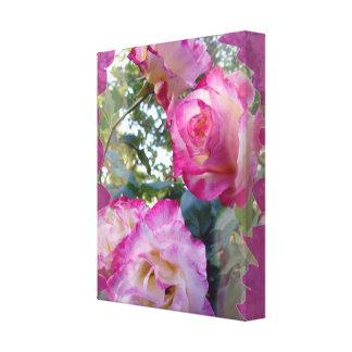 Lona envuelta rosaleda rosada impresión de lienzo