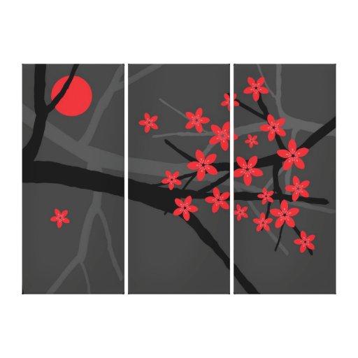Lona envuelta Sakura roja Impresión En Lienzo