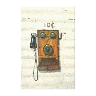 lona envuelta teléfono antiguo de la pared impresión en lona estirada