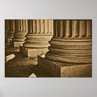 Lona envuelta vintage retro de los pilares de la l póster