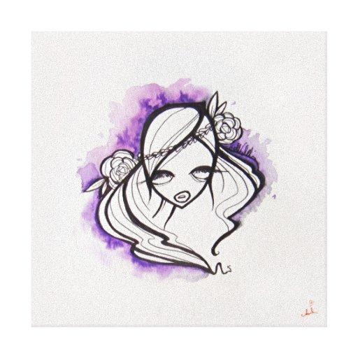 """Lona envuelta violácea, 14"""" x14 """" lienzo envuelto para galerías"""